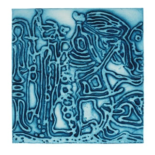 """Flight of the Female Chauvinist"" Textured Collograph Print in Blue For Sale"