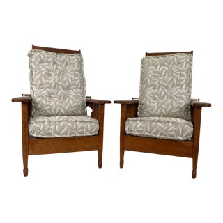 Late 19th Century Arts & Crafts Morris Style Chairs - a Pair For Sale