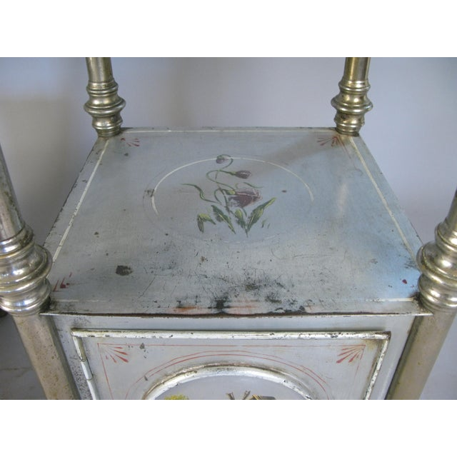 Cottage 19th Century Painted Steel Nightstands - a Pair For Sale - Image 3 of 9