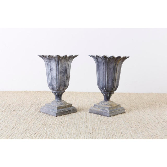 Pair of French Neoclassical Tulip Form Garden Urn Planters For Sale - Image 9 of 13