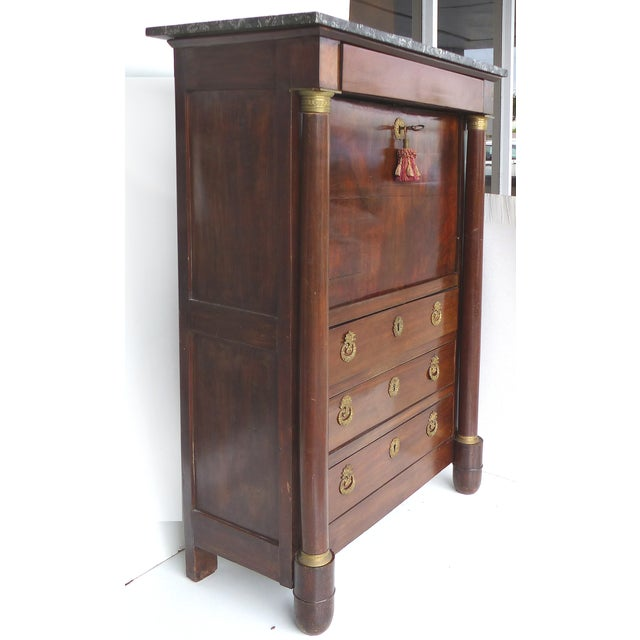 Empire 19th C. French Empire Drop-Front Secretary Desk For Sale - Image 3 of 11