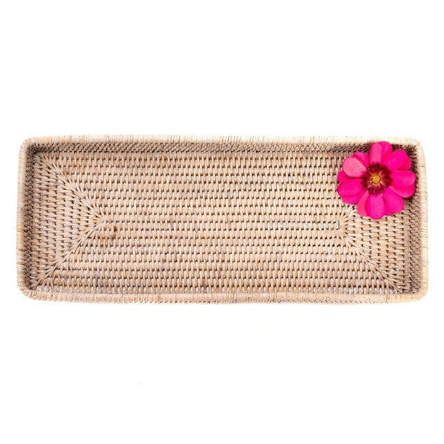 "Boho Chic Artifacts Rattan Rectangular Tray 14""x6""x2"" For Sale - Image 3 of 4"