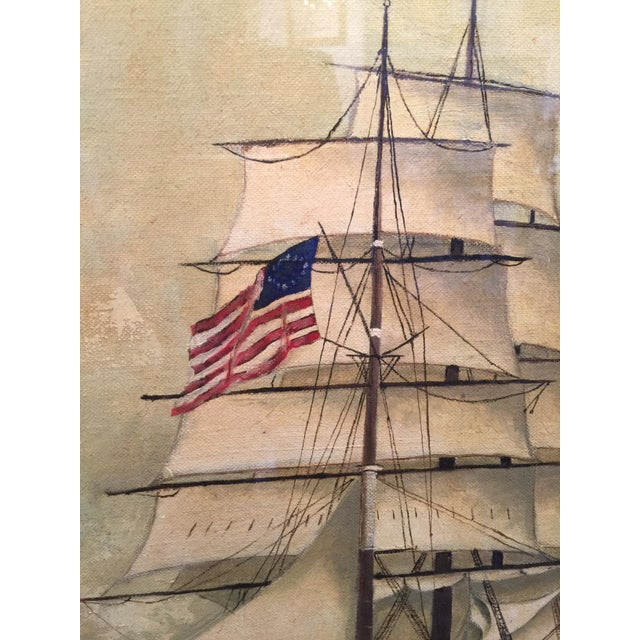 Vintage American Sailboat Painting - Image 4 of 8