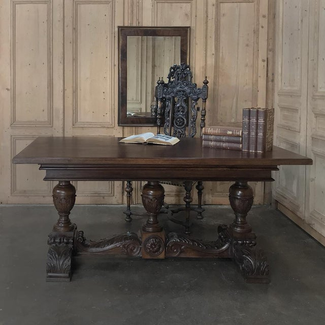 19th Century Italian Walnut Renaissance Table ~ Desk is ideal for the office or library. Classical architecture melded...