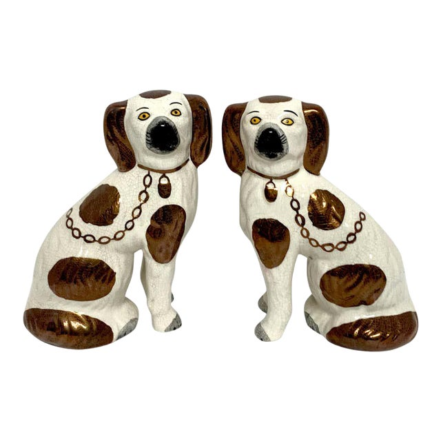 19th Century Staffordshire Diminutive Copper Luster Dogs - a Pair For Sale