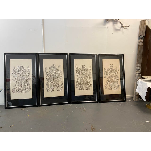 Vintage Cynocephaly Eastern Zodiacal rubbings, set of 4Each framed rubbing is matted with a . unique medallion printed Mat.