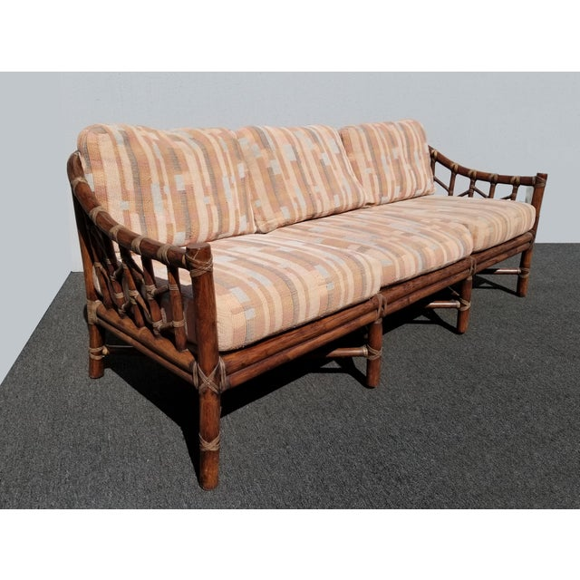 1970s Vintage McGuire Furniture Company Rattan Sofa With Leather Rawhide Ties For Sale - Image 5 of 13