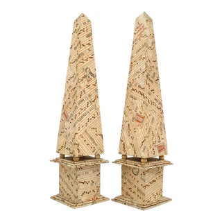 1940 Obelisks With Antique French Sheet Music Veneer, Pair For Sale