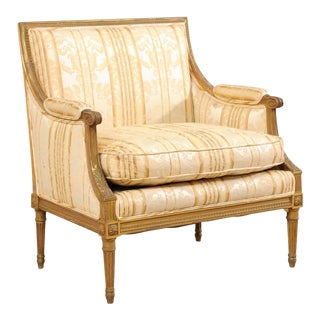 French Louis XVI Style Marquise Wide-Set Turn of the Century Armchair For Sale