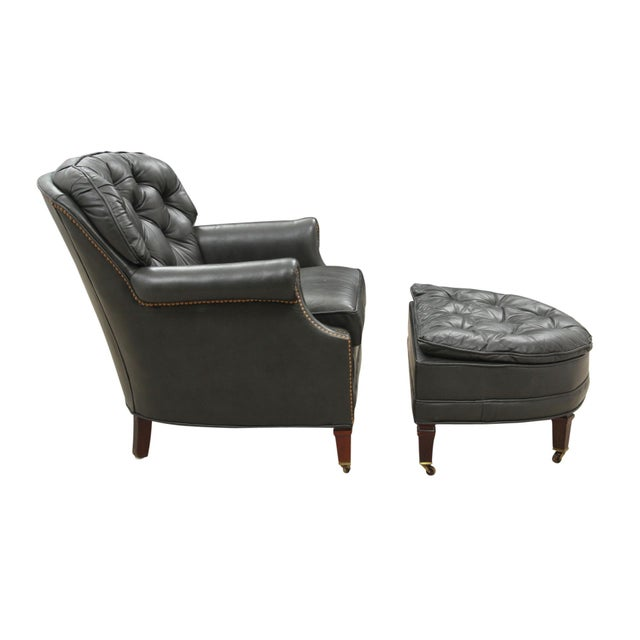 Midcentury Green Leather Armchair and Ottoman - Image 3 of 10