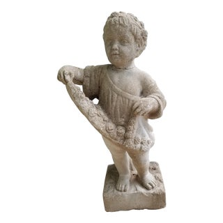 Vintage Stone Child Garden Statue For Sale