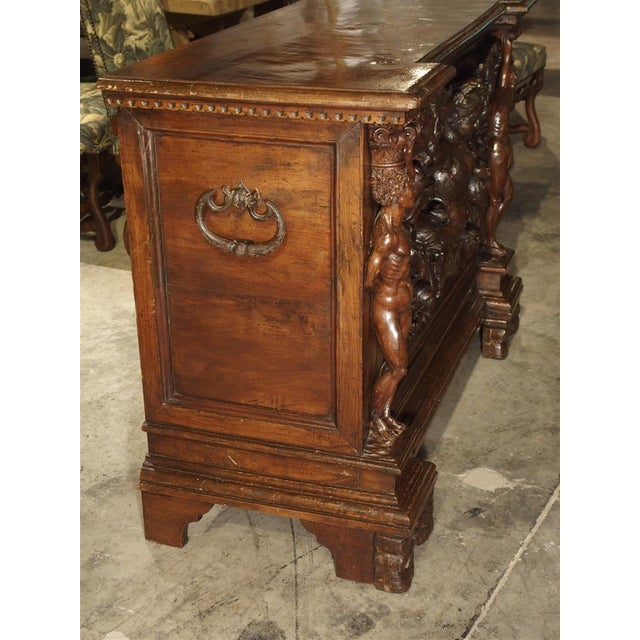 Antique Italian Walnut Wood Buffet / Credenza From Rome, 19th Century For Sale - Image 4 of 13