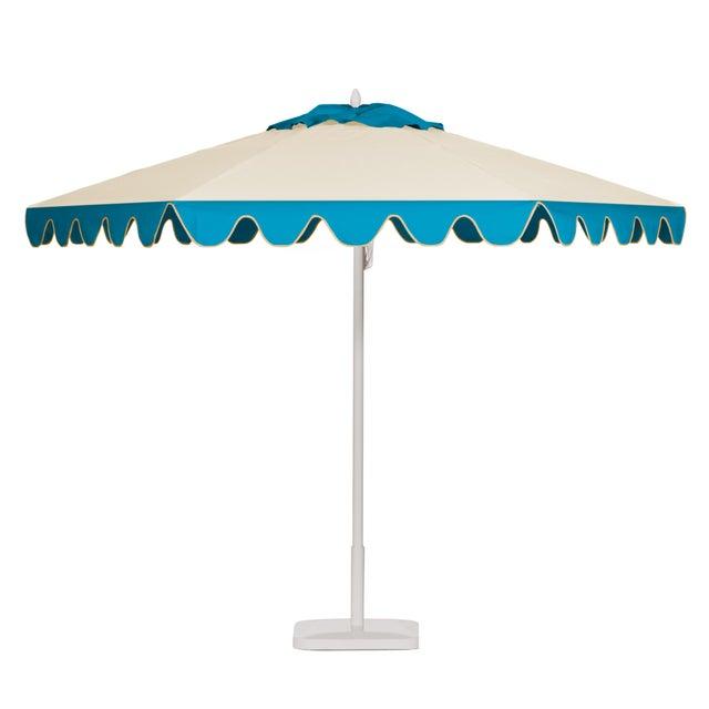 Blueberry Smoothie 9' Patio Umbrella, Aqua & Off-white For Sale - Image 4 of 4