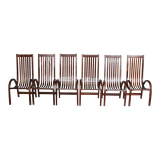 Modern Bentwood Tall Back Dining Chairs - Set of 6 For Sale