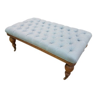 Rectangular Early 1900s Antique French Tufted Newly Upholstered Bedroom Ottoman With Caster Wheels For Sale