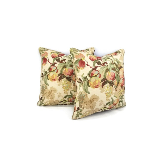 From Ramm Sons and Crocker for Brunschwig and Fils is Peach Tree in the color Beige with Blue. This pillow features juicy...