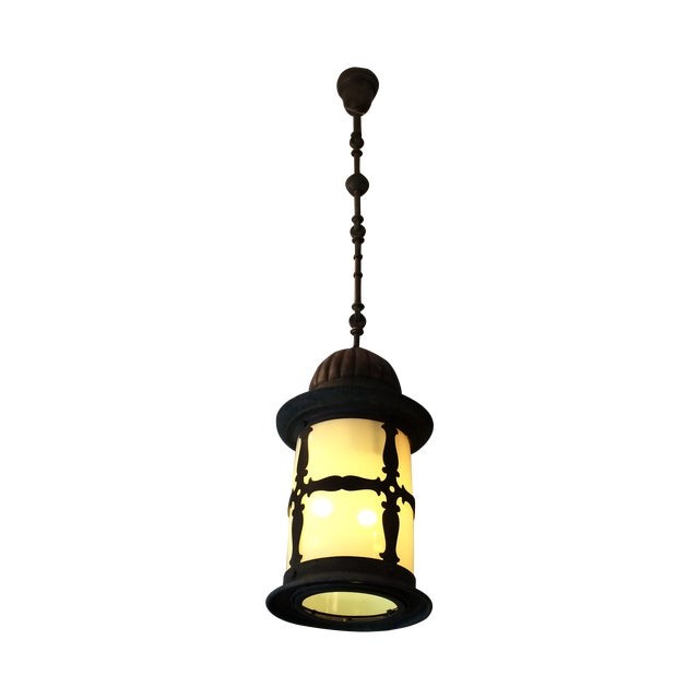 Old World Metal and Opalescent Glass Lantern - Image 1 of 3