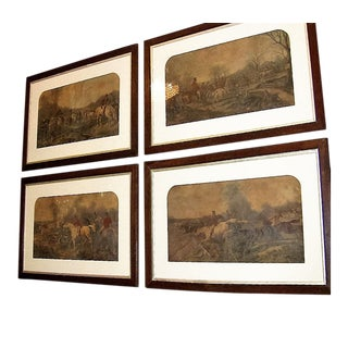 19c Set of 4 Original Engravings of Hunting Scenes by John Frederick Herring Snr