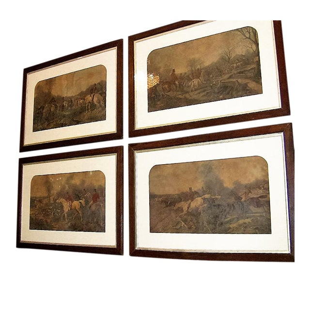 19c Set of 4 Original Engravings of Hunting Scenes by John Frederick Herring Snr - Image 1 of 11