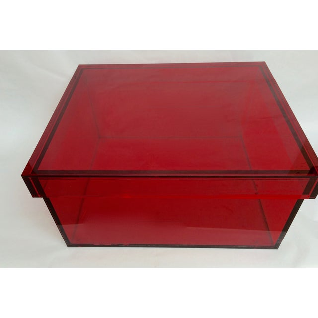 Vintage Red Acrylic Storage Box - Image 3 of 7