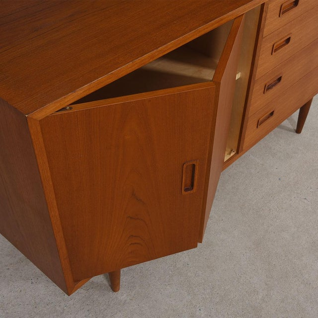 2-Piece Danish Teak Bookcase & Cabinet with Drawers and Bi-Fold Door - Image 5 of 7