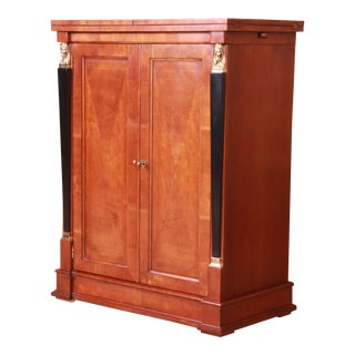 Baker Furniture Neoclassical Cherry Wood Bar Cabinet For Sale