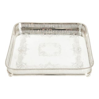 English Sheffield Plated Footed Barware Gallery Tray For Sale