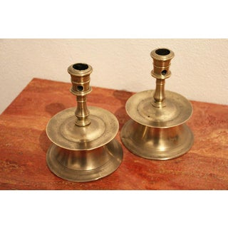 """16th/17th Century Hispano Flemish Brass """"Capstan"""" Candlesticks - a Pair Preview"""