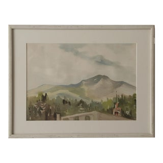 Vintage Watercolor Landscape of a Mountain Village For Sale