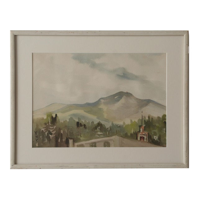 Vintage Watercolor Landscape of a Mountain Village - Image 1 of 4