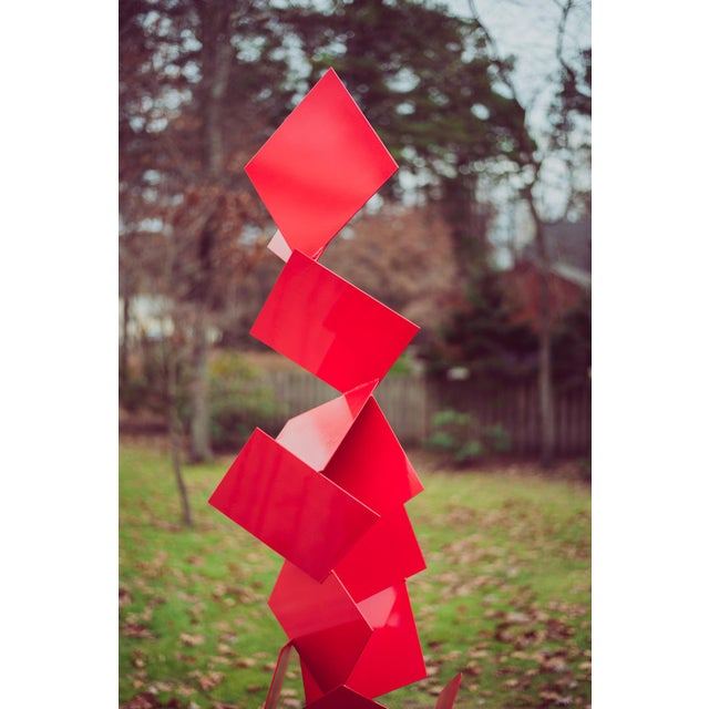 """Modern Abstract Balanced Gravity """"Sotto"""" Red Steel Sculpture For Sale - Image 9 of 11"""
