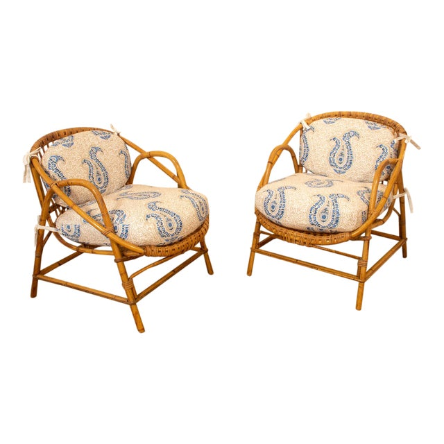 Vintage Rattan and Bamboo Armchairs- a Pair For Sale