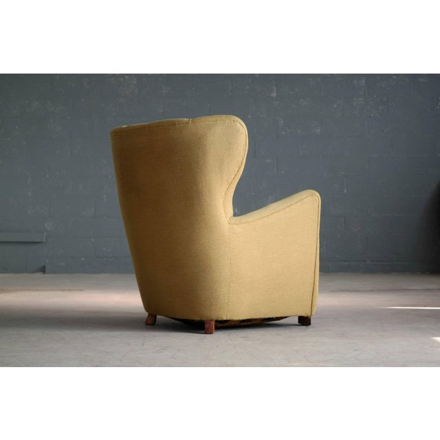 1940s Fritz Hansen Attributed Model 1672 Variant High Back Lounge Chair For Sale - Image 9 of 11