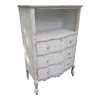 1900s Shabby Chic Ivory Tall Dresser With Serpentine Drawers For Sale