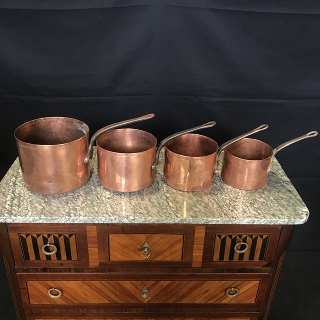 Mid 19th Century Mid 19th Century Graduated French Copper and Iron Pots- Set of 4 For Sale - Image 5 of 7