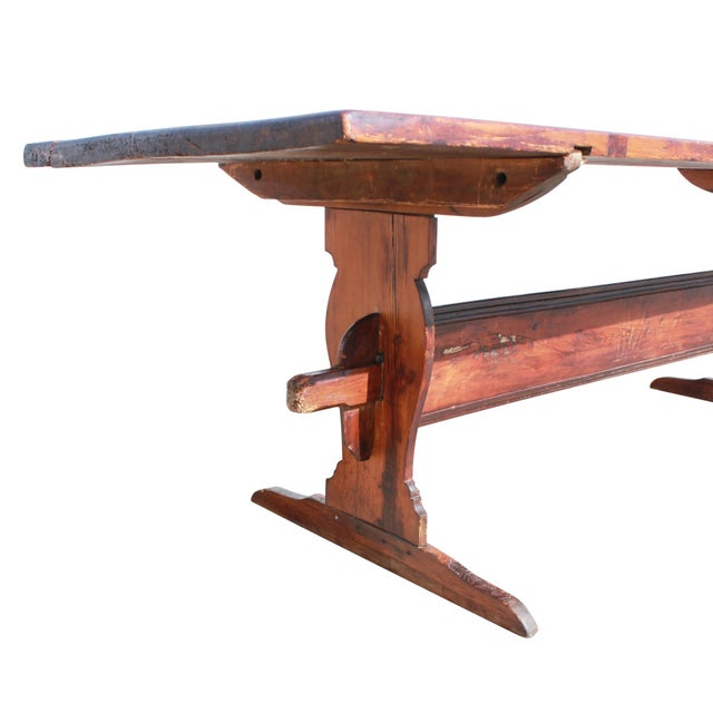 Antique Country Pine Farm Table For Sale In Boston - Image 6 of 13