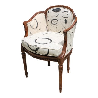Antique French Carved Wood & Cane Seat Chair With Bespoke Fabric For Sale