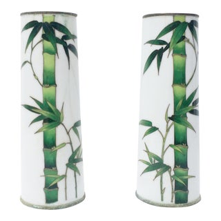 Pair of Green Bamboo Cloisonné Vases - Set of 2