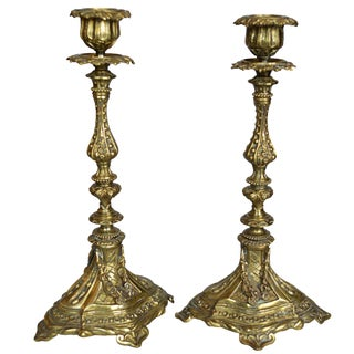 French Gilt Bronze Candlestick Holders - A Pair For Sale