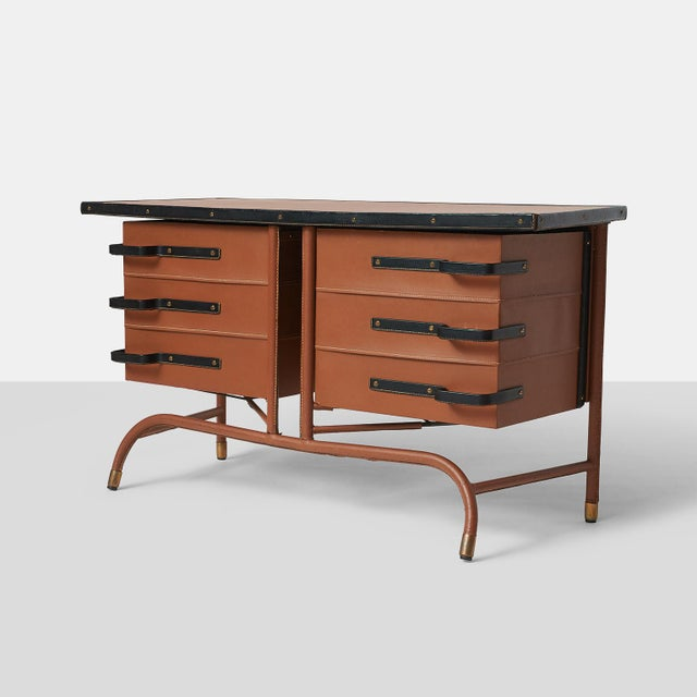 Jacques Quinet Commode in Leather For Sale - Image 10 of 10