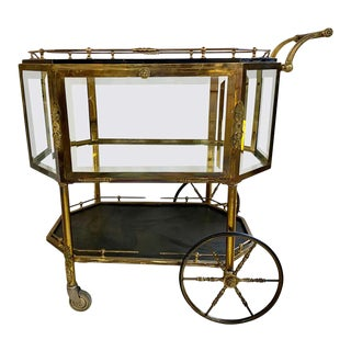 Hollywood Regency Bronze Tray Top Beveled Glass Showcase Serving Cart or Wagon For Sale