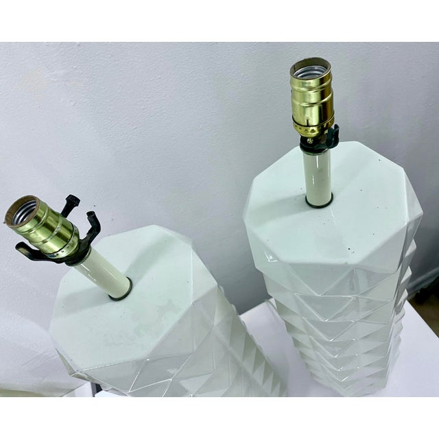 Metal Large White Ceramic Quilted Pattern Lamps - a Pair For Sale - Image 7 of 11