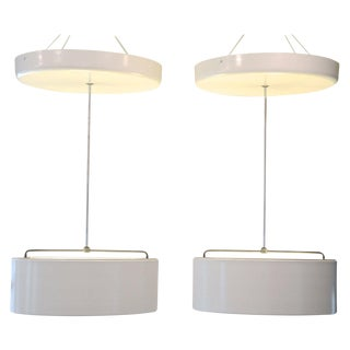 Pair of Mid-Century Italian Drum Up-Light For Sale