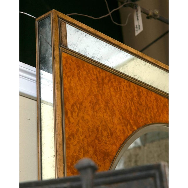 Monumental Burl and Glass Art Deco Mirror For Sale In New York - Image 6 of 7