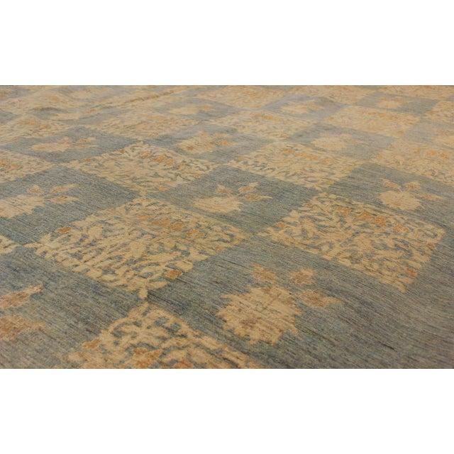 "Textile Kafkaz Peshawar Sarina Blue & Gold Wool Rug - 12' x 17'4"" For Sale - Image 7 of 7"