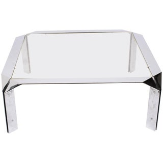 Design Institute of America Chrome Coffee Table For Sale