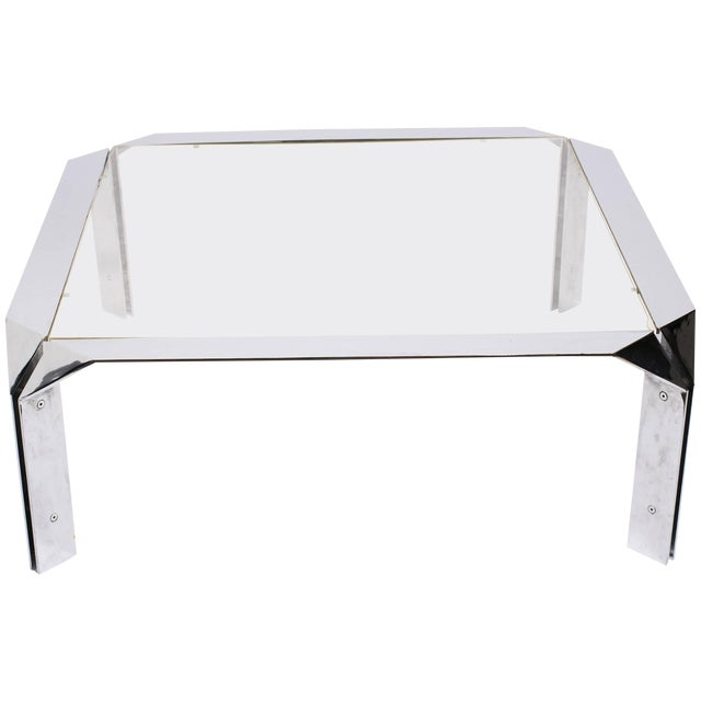 Design Institute of America Chrome Coffee Table For Sale