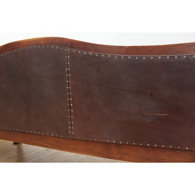 Animal Skin Mahogany Chippendale Bench Sofa - Cape Buffalo Leather For Sale - Image 7 of 12