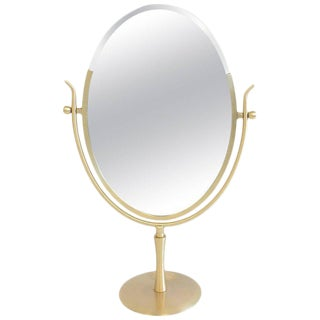 Satin Brass and Leather Vanity Mirror by Charles Hollis Jones For Sale