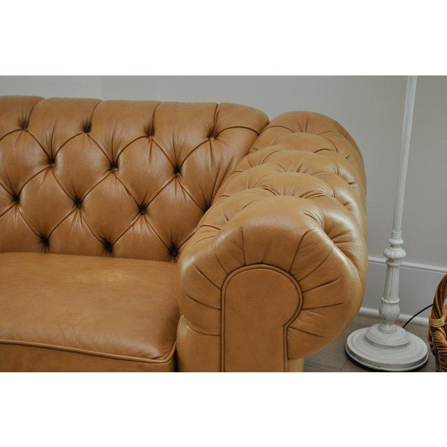 Contemporary Ethan Allen 3 Seat Chesterfield Style Leather Tufted Sofa For Sale - Image 3 of 10